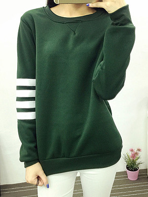 Round Neck Printed Long Sleeve Sweatshirts, 5598310