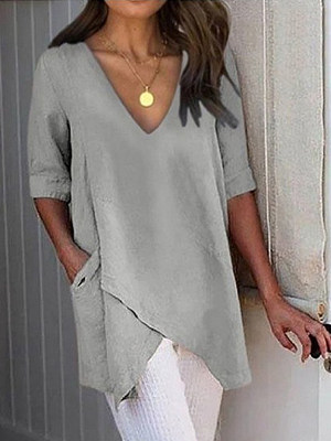 V Neck Patchwork Brief Plain Half Sleeve T-Shirts фото