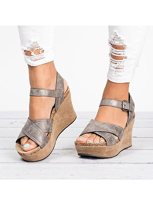 Plain High Heeled Peep Toe Casual Wedge Sandals фото