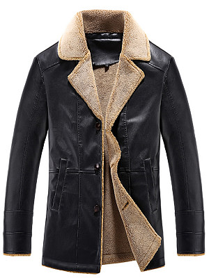 Lapel Fleece Lined PU Leather Men Coat фото