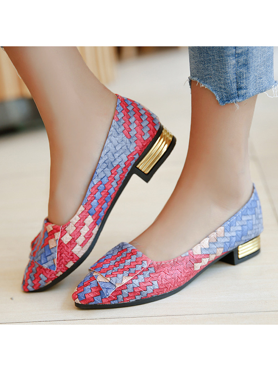 BerryLook Color Block  Chunky  Low Heeled  Point Toe  Casual Date Low Heels