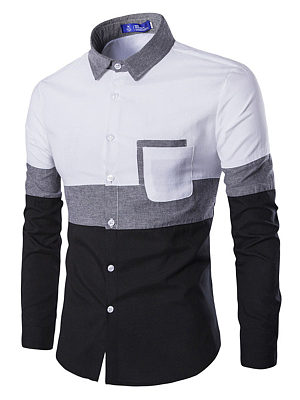 Color Block Patch Pocket Men Shirts