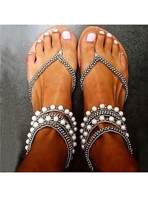 Bohemian Flat Peep Toe Casual Date Flat Sandals, 6454302