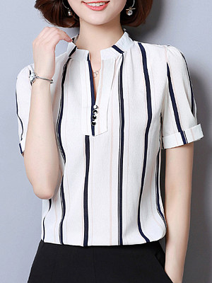 Band Collar Decorative Buttons Stripes Blouses