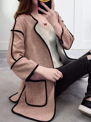 Fold-Over Collar Contrast Piping Plain Long Sleeve Cardigans