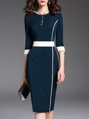 Round Neck Plain Bodycon Dress Commuting, 4927327