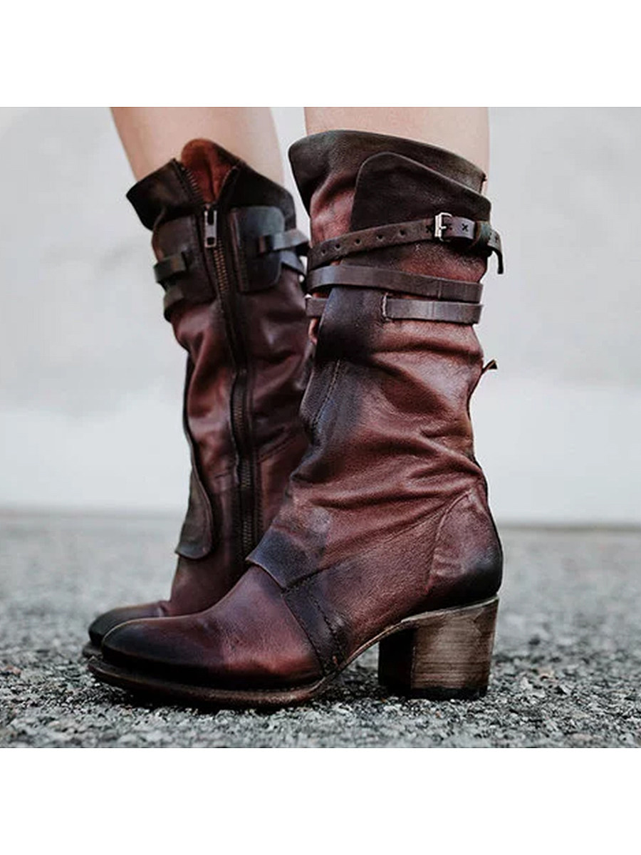 BerryLook Chunky  High Heeled  Round Toe  Date Outdoor  Mid Calf High Heels Boots