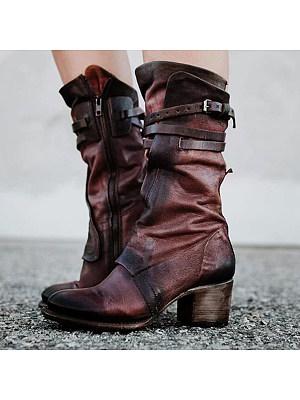 berrylook Chunky High Heeled Round Toe Date Outdoor Mid Calf High Heels Boots
