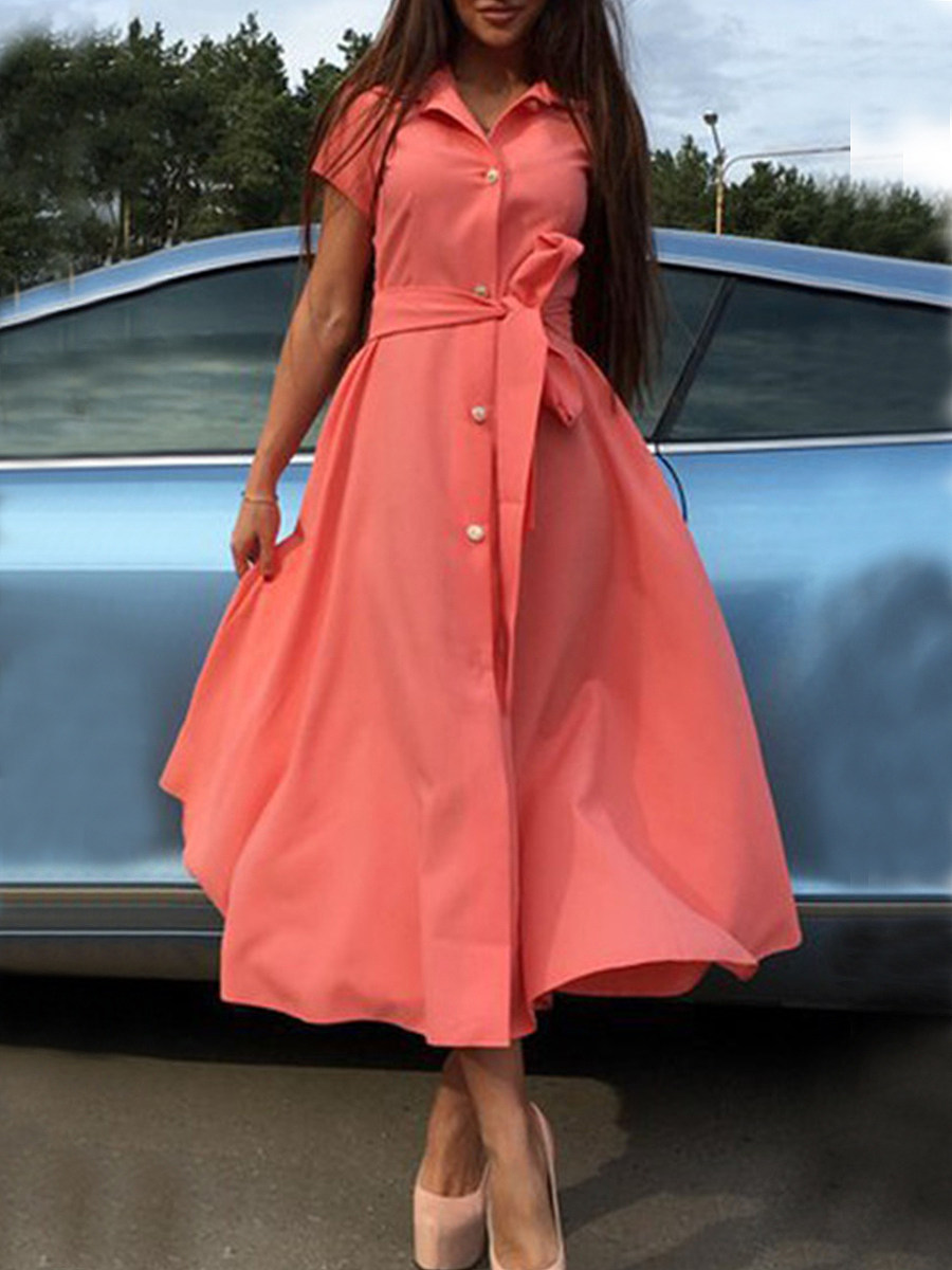 Fold Over Collar Patch Pocket Single Breasted Plain Maxi Dress