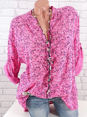 Band Collar Loose Fitting Print Blouses, 6580737