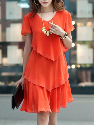 Round Neck Sequin Plain Shift Dress