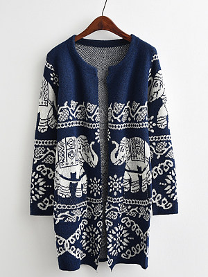 Patchwork  Brief  Printed  Long Sleeve  Knit  Cardigan