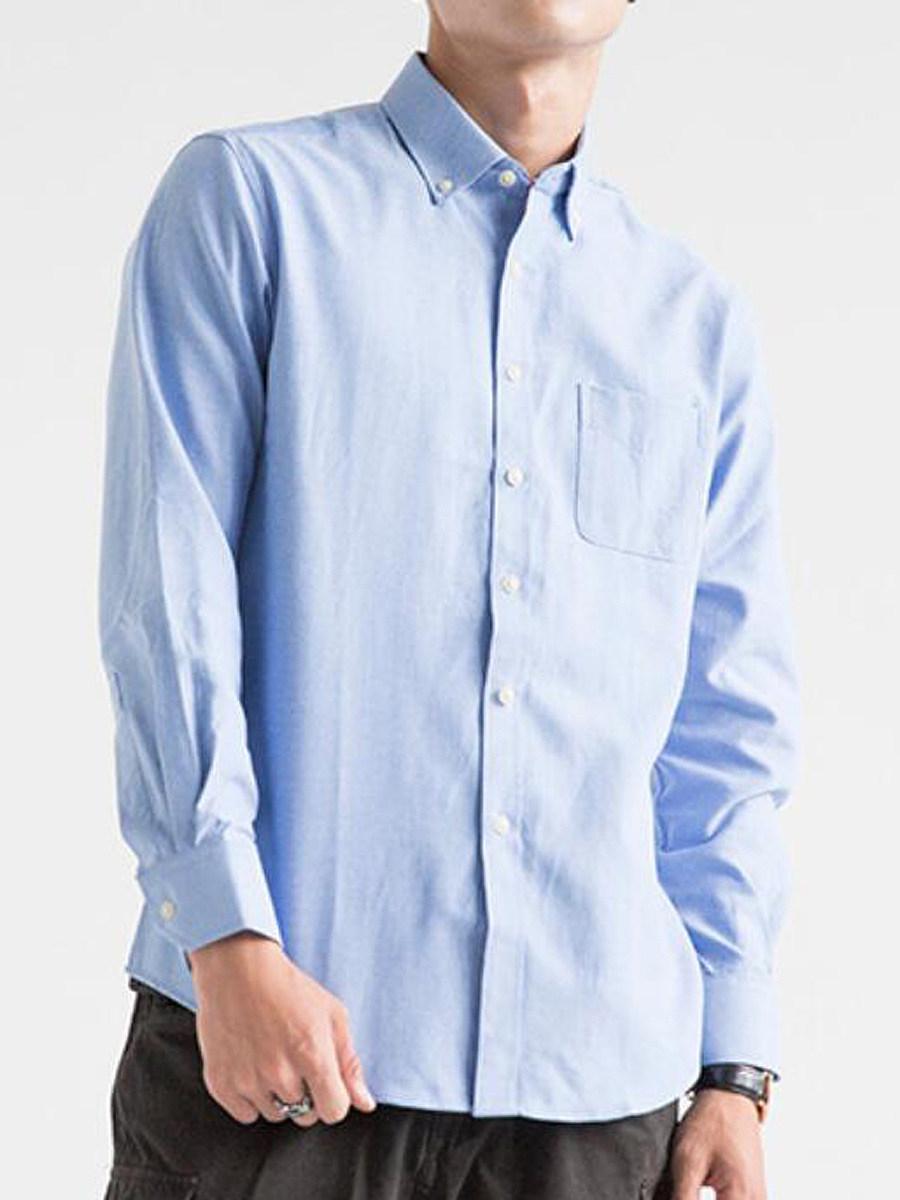 Button Down Collar Patch Pocket Plain Men Shirts