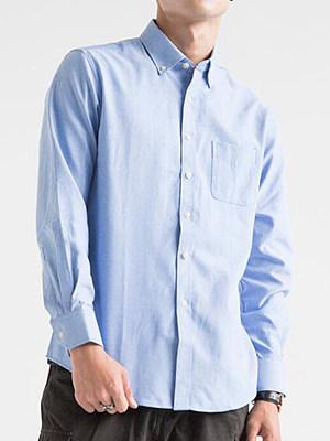Button Down Collar Patch Pocket Plain Men Shirts фото