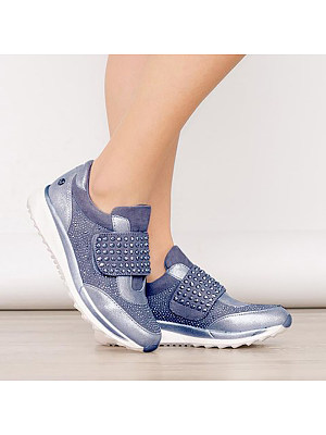 Women's Simple Solid Color Rhinestone Velcro Casual Shoes, 8348430