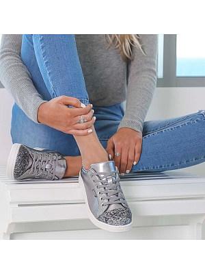 Casual Paillette Lace-Up Flat Single Shoes, 8422284