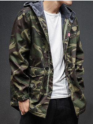 Hooded Flap Pocket Men Fleece Lined Coat фото