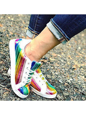 Women's Fashion Color Matching Lace-Up Casual Shoes, 8383543