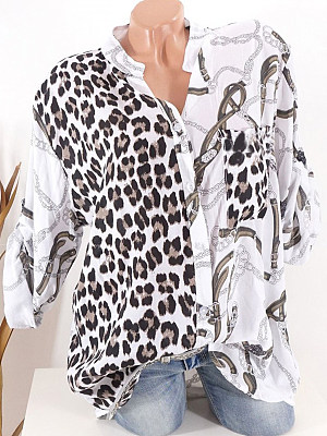 Tachibana Patchwork Casual Leopard Printed Long Sleeve Blouse, 8927988