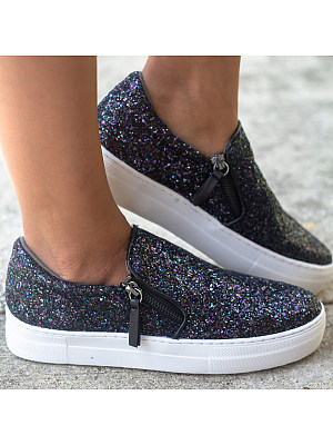 Women's Fashion Sequins Solid Color Zipper Casual Flat Shoes, 8422463