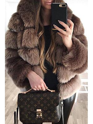 Faux Fur Collar Plain Long Sleeve Coats фото