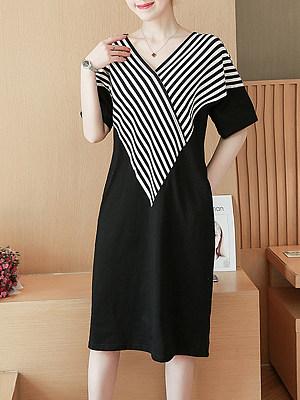 V Neck  Patch Pocket  Striped Shift Dress
