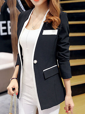 Collarless Contrast Trim Single Button Blazer фото