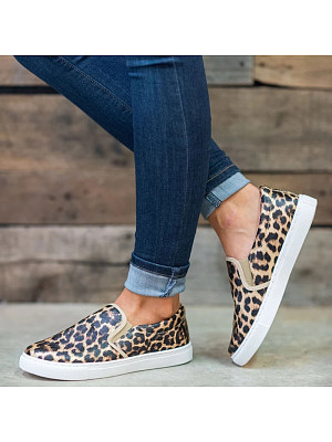 Casual Leopard Print Roud Toes Flat Loafers, 8366682