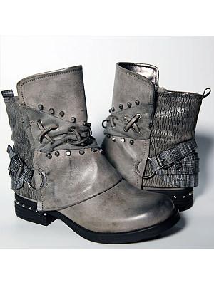 Plain Flat Round Toe Casual Outdoor Mid Calf Flat Boots фото