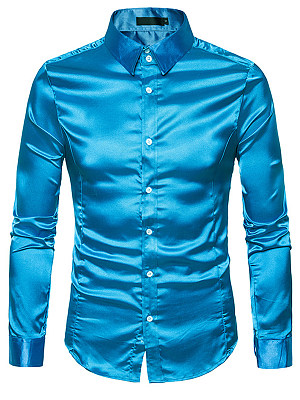 Men Stunning Turn Down Collar Plain Shirts фото