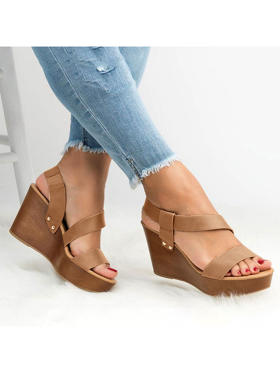BerryLook Plain  Peep Toe  Casual Date Wedge Sandals