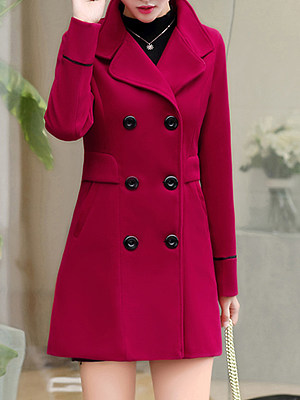 Buy Coats clothes shopping near me, shoping from Berrylook Apparel & Accessories>Clothing>Outerwear>Coats & Jackets>Overcoats, Berrylook Lapel Double Breasted Slit Pocket Plain Long Sleeve Coats is well made of Woolen and it\\\'s features are: length:80,shoulder:38,sleeve length:59,bust:96 (in inches). Find best army jacket womens, jean jacket with fur at Berrylook.com