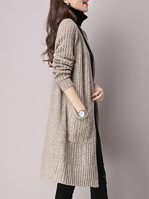 Patchwork Elegant Plain Long Sleeve Knit Cardigan, 8479780