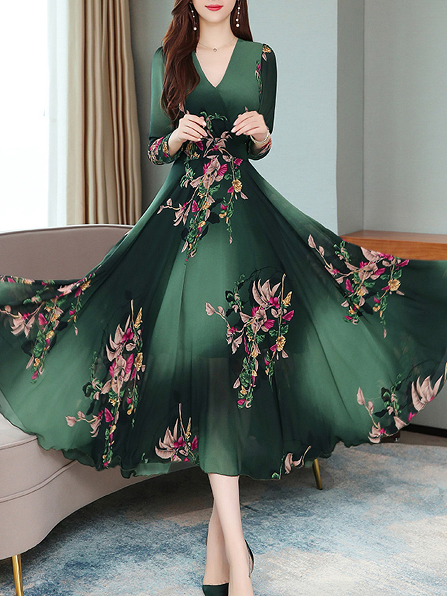V-Neck  Floral Printed Maxi Dress