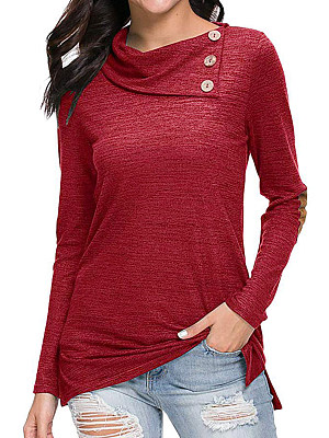 Heap Collar Patchwork Casual Long Sleeve T-Shirts, 8121684