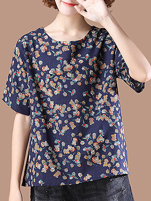 Round Neck  Loose Fitting  Floral Printed Short Sleeve T-Shirts