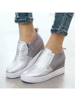 Plain Round Toe Casual Date Travel Sneakers, 8115349