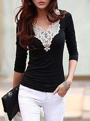 V-Neck Decorative Lace Long Sleeve T-Shirt