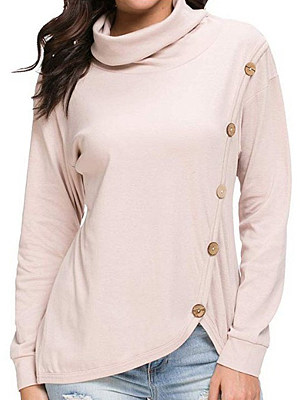Cowl Neck Loose Fitting Single Breasted Plain Long Sleeve T-Shirts