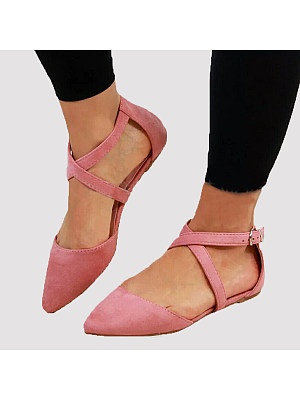 Plain Flat Velvet Point Toe Date Flat Sandals