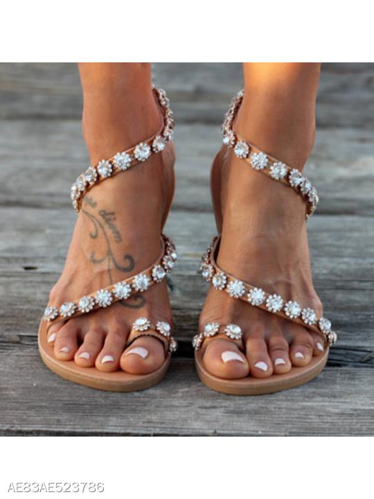 02d8a52fdc7ae Bohemian Flat Peep Toe Casual Date Flat Sandals - berrylook.com