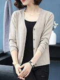 Patchwork Brief Plain Long Sleeve Kint Cardigans-  M L XL 2XL 3XL