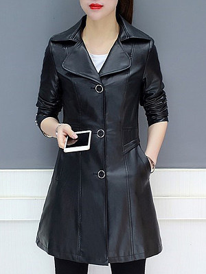 a668b6c080 Lapel Single Breasted Plain Long Sleeve Trench Coats