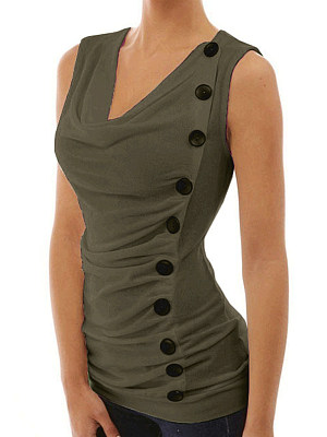 V Neck  Decorative Buttons  Patchwork Plain Sleeveless T-Shirts