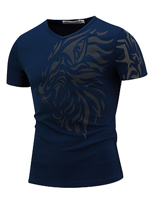 Stylish Men V-Neck Printed T-Shirt фото