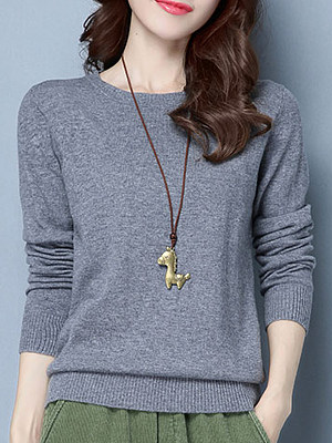 Round Neck Brief Plain Long Sleeve Knit Pullover фото