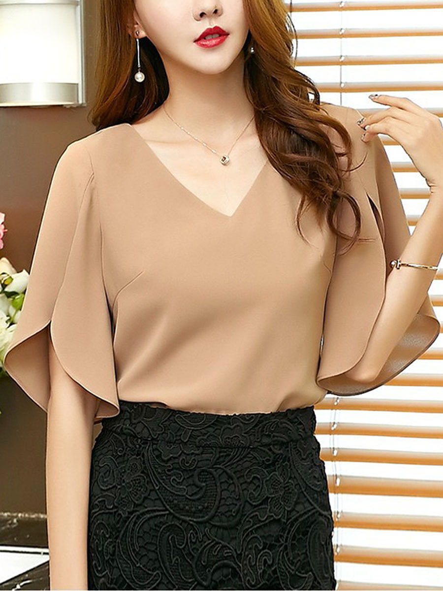 Spring Summer Chiffon V-Neck Plain Split Sleeve Short Sleeve Blouse