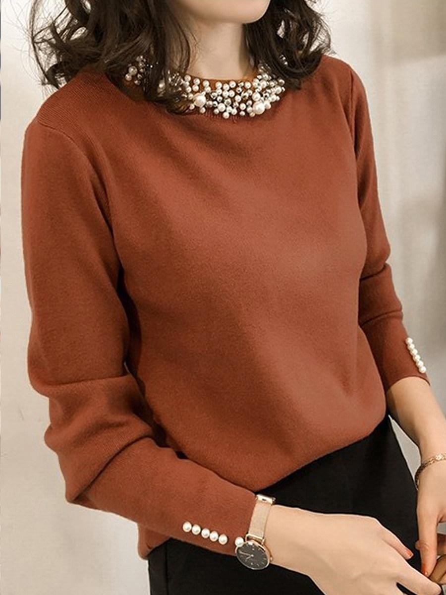 Band Collar Beading Plain Knit Pullover