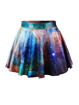Elastic Waist Dreamy Printed Flared Mini Skirt