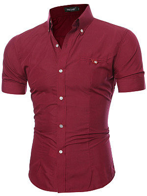 Fitted Solid Button Down Collar Men Shirts фото